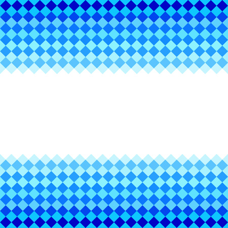 diamond shape: Blue diamond shape mosaic striped geometric seamless frame banner, vector Illustration