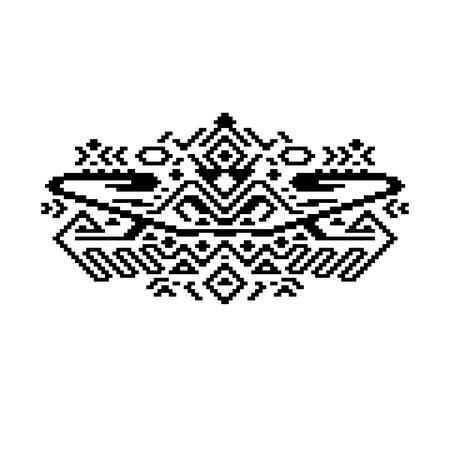 Black and white ethnic geometric aztec print Vector