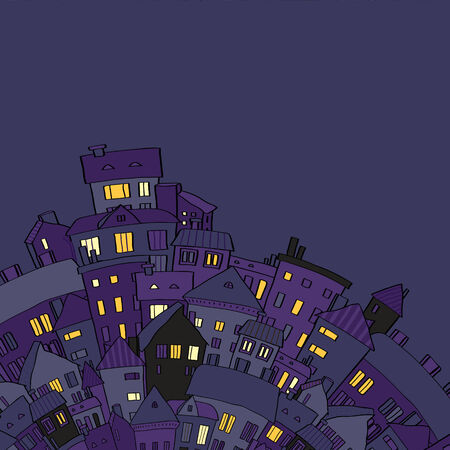 suburb: Panorama view old town at night with lighted windows in violet, vector illustration