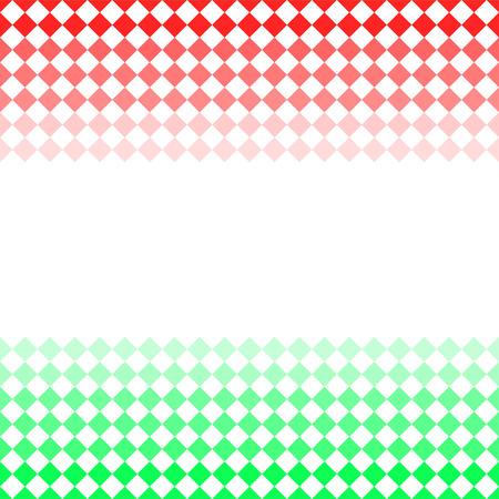 diamond shaped: Red and green diamond shaped mosaic stripe seamless border, vector Illustration