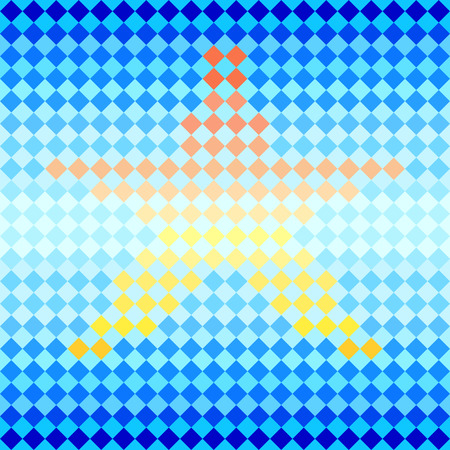 rhombic: Blue star shape diamond mosaic striped geometric seamless pattern, vector