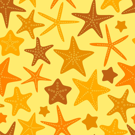 sea star: Colorful orange yellow starfish summer seamless pattern, vector