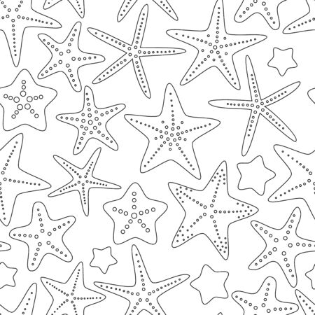 star fish: Black and white starfishes summer seamless background, vector Illustration