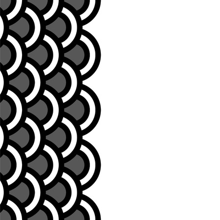 scallop: Geometric scallop seamless border pattern in black and white, vector