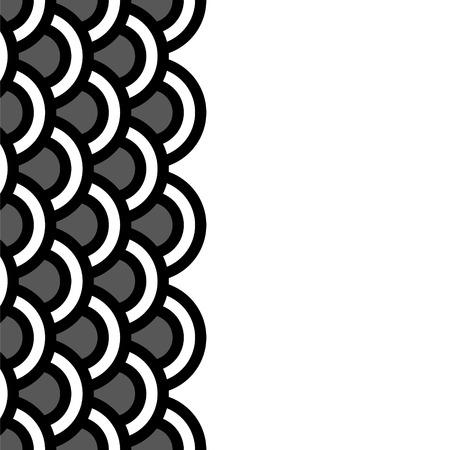 noix saint jacques: Motif de frontière géométrique de pétoncles sans soudure en noir et blanc, vecteur Illustration