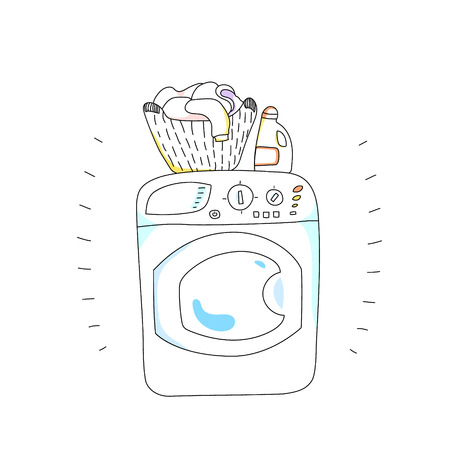 washer machine: Washing machine with a bottle of detergent and a basket of laundry, cartoon style vector illustration Illustration