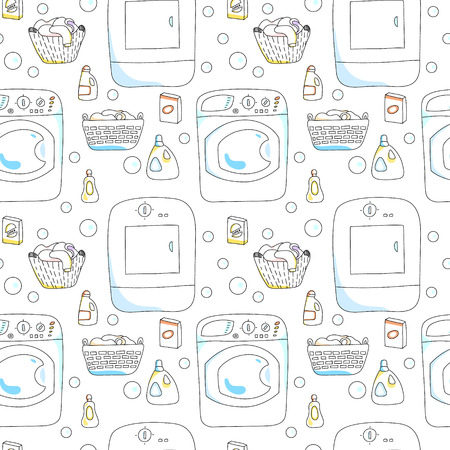 Washing and dryer machines, laundry baskets, detergents seamless pattern on white, vector Vector