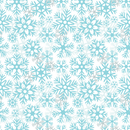 Blue and white snowflakes christmas seamless pattern, vector