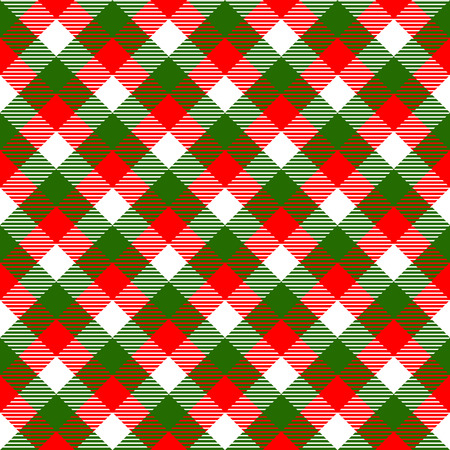 christmas plaid: Checkered gingham fabric seamless pattern in christmas colors: green white and red, vector