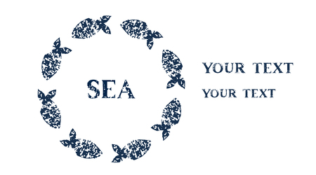 Navy blue fishes on white round frame horizontal banner, vector Vector