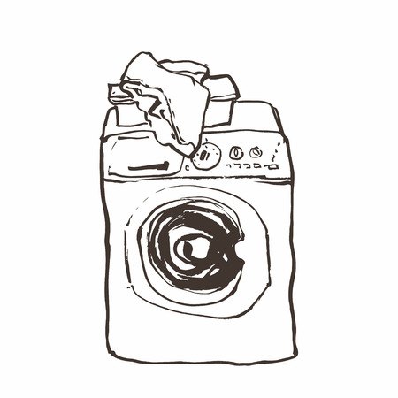 hamper: Laundry washing machine hand drawn ink sketch, vector Illustration