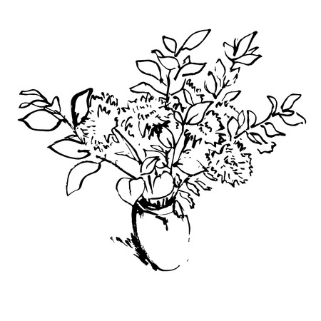aster: Black and white aster flowers bouquet in a vase hand drawn pen and ink vector illustration
