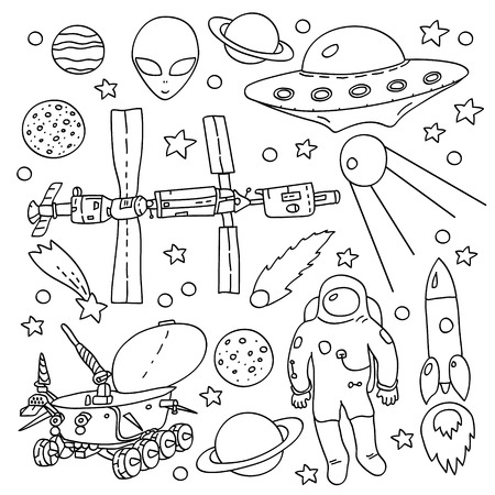 lunar rover: Doodle space elements collection in black and white: ISS, moonwalker, planet, comet, moon, astronaut, alien, UFO. Vector illustration