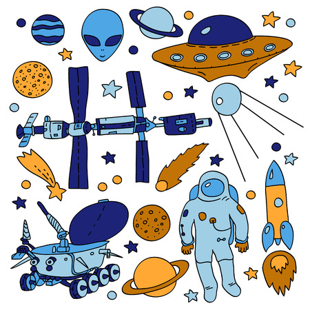 rover: Colorful doodle space elements collection: ISS, moonwalker, planet, comet, moon, astronaut, alien, UFO. Vector illustration