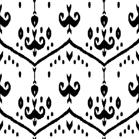 middle eastern clothes: Black and white ikat middle east traditional silk fabric seamless pattern, vector