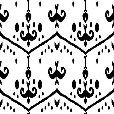 silk fabric: Tela de seda tradicional modelo incons�til blanco y negro ikat oriente medio, vector Vectores