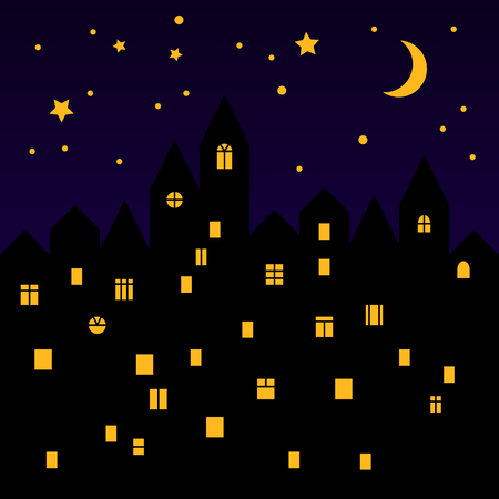 turret: Cute medieval town at starry night black silhouette