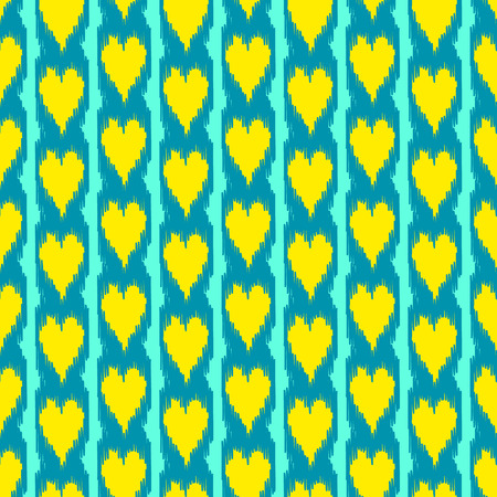 kilim: Colorful heart shape ikat seamless pattern in blue and yellow, vector Illustration