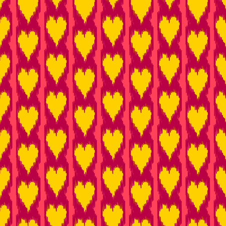 kilim: Colorful heart shape ikat seamless pattern in yellow and red, vector Illustration