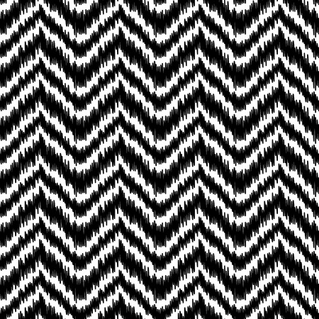 Black and white simple ikat middle east traditional silk fabric chevron zig zag seamless pattern, vector Vettoriali