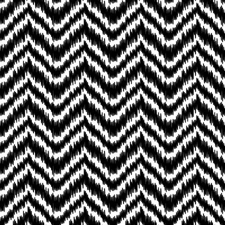 silk fabric: Tela blanco y negro simple ikat tradicional Oriente Medio seda zigzag del gal�n sin patr�n, vector Vectores