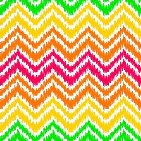 Colorful ikat middle east traditional silk fabric chevron zig zag seamless pattern on white