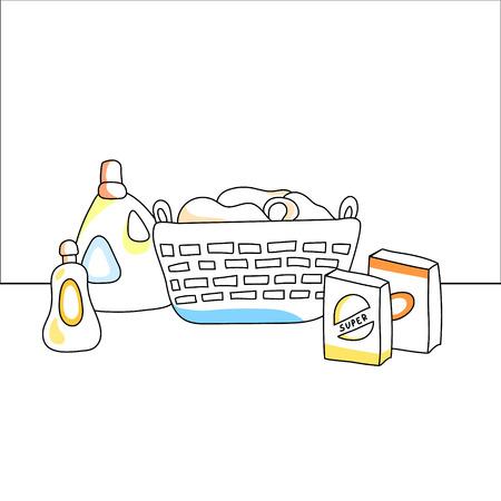 Wasmand, detergenten, vector illustratie