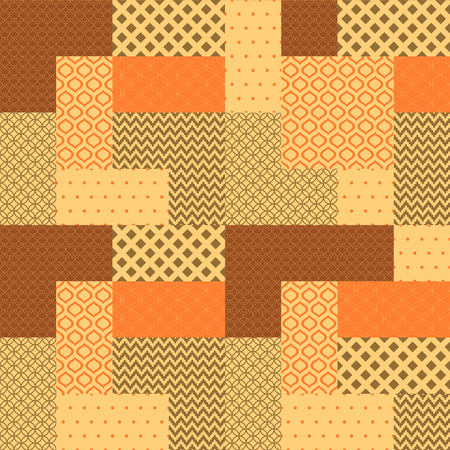 Orange and brown patchwork quilted geometric seamless pattern, vector Vector