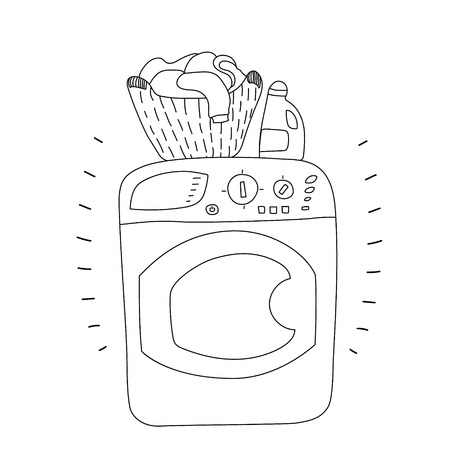 laundry pile: Black and white washing machine with a bottle of detergent and a basket of laundry, cartoon style vector illustration
