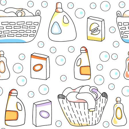 Wasmand, detergenten witte naadloze patroon, vector Stock Illustratie