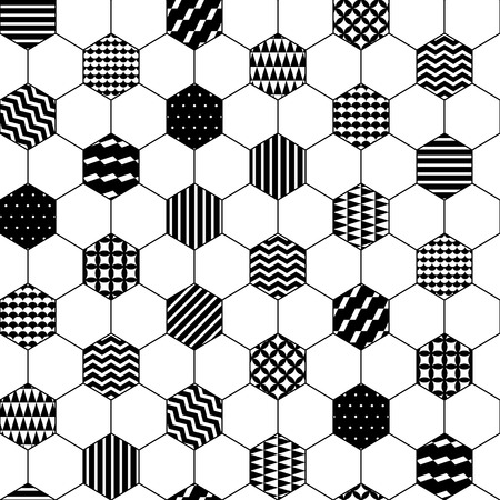 honeycomb: Black and white textured hexagon honeycomb geometric seamless pattern, vector