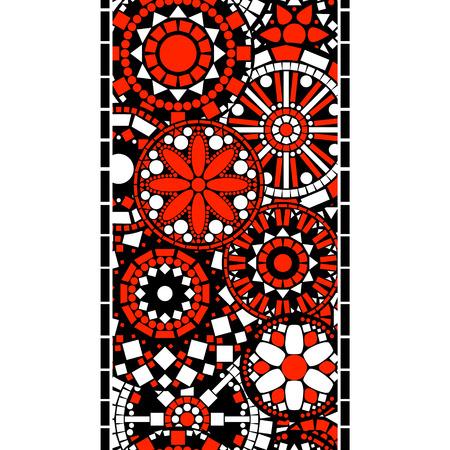 borde de flores: Coloridos negro c�rculo blanco y rojo mandalas florales patr�n frontera sin fisuras, de vectores Vectores