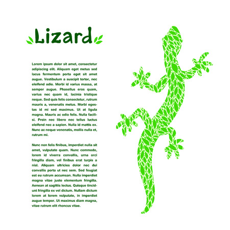 article: Green leaf textured lizard, design template for an article or banner Illustration