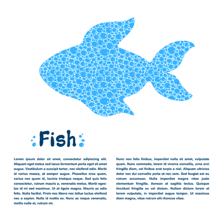 blue fish: Blue water bubble textured fish design template Illustration