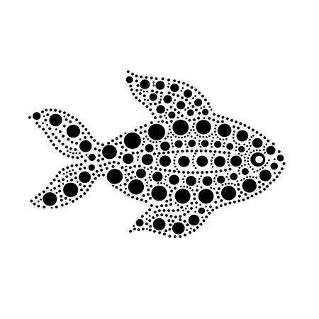 Black and white dotted fish silhouette australian aboriginal art style, vector illustration