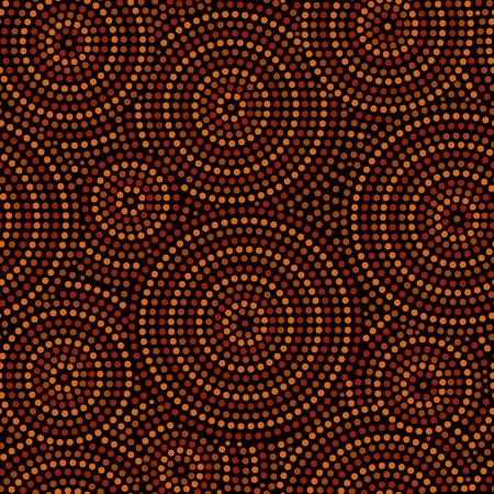 오렌지 갈색과 검은 색, 벡터 호주 원주민 기하학적 예술 동심원 원활한 패턴
