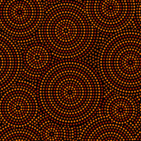 Australian aboriginal geometric art concentric circles seamless pattern in orange brown and black, vector