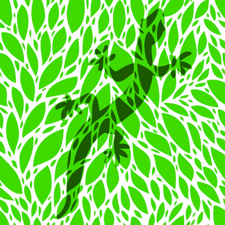 mimic: Green gecko lizard shadow silhouette over leaves seamless pattern, vector illustration