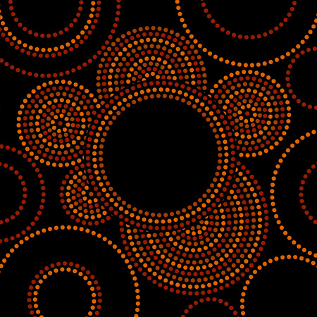 Australian aboriginal geometric art concentric circles frame in orange brown and black, vector