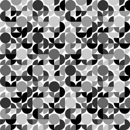 quadrant: Black and white retro styled circle shapes geometric seamless pattern, vector Illustration