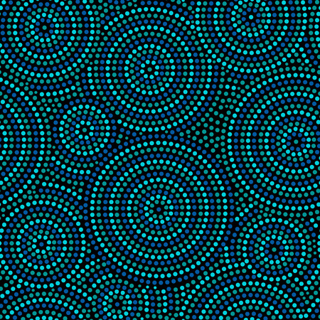 Australian aboriginal geometric art concentric circles seamless pattern in blue and black, vector  イラスト・ベクター素材