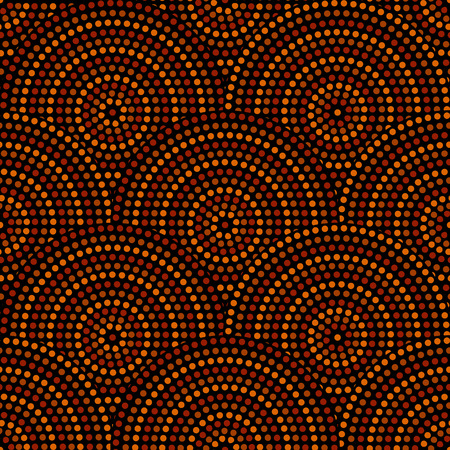 Australian aboriginal geometric art concentric circles seamless pattern in orange brown and black, vector Vettoriali