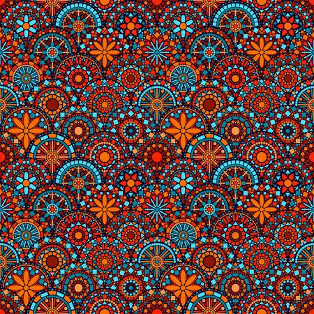 カラフルなサークル花まんだらシームレス パターン青赤、オレンジ、ベクトル