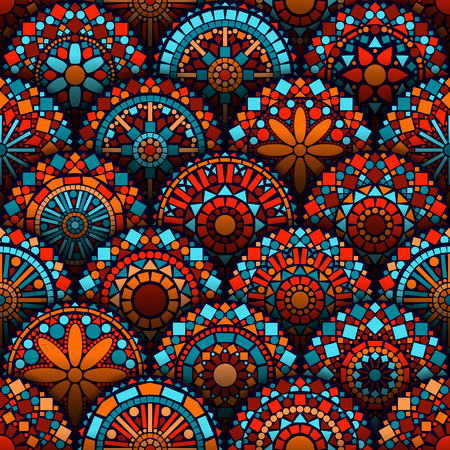 stained: Colorful circle flower mandalas seamless pattern in blue red and orange, vector