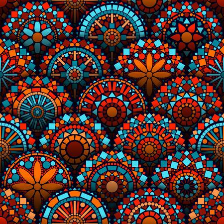Kleurrijke cirkel bloem mandala naadloos patroon in blauw rood en oranje, vector