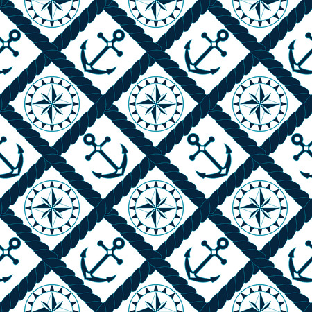 Anchor and compass seamless pattern in rope lattice in navy blue and white, vector