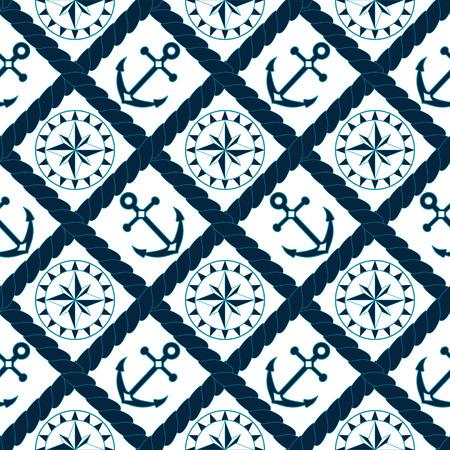Anchor et le compas pattern dans la corde treillis en bleu marine et blanc, vecteur Vecteurs