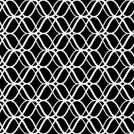黒と白の格子の幾何学的なシームレス パターンを抽象化、ベクトル