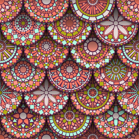 Colorful circle flower mandalas seamless pattern in pink and green, vector Vector