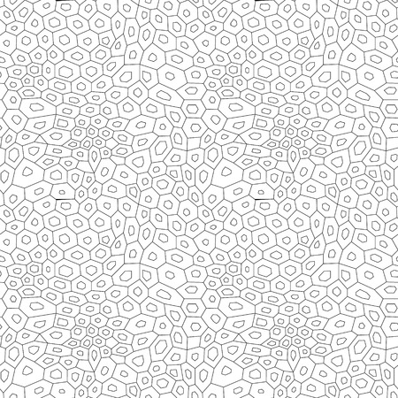uneven: Black and white abstract uneven hexagon mosaic simple seamless pattern, vector Illustration